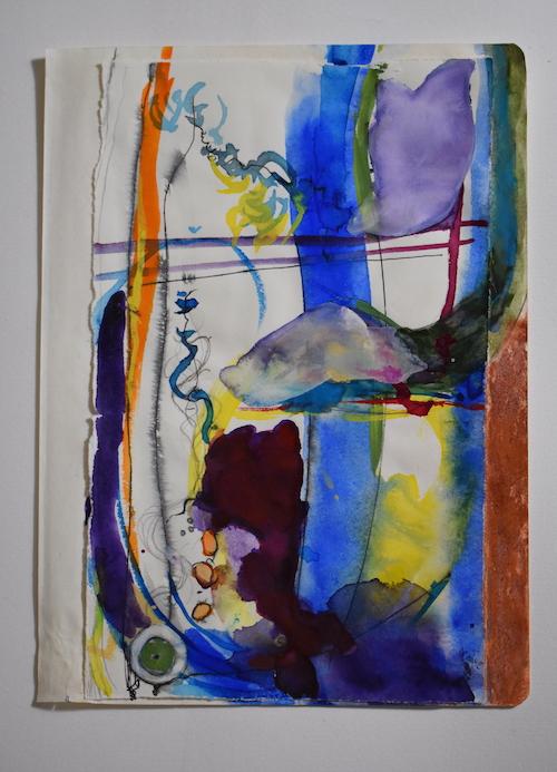 #18 Columbia Fiero  schlangenbissen  watercolor, chalk, ink, rives paper, writersblok paper 9 3/4 x 7 in plus frame, 2017