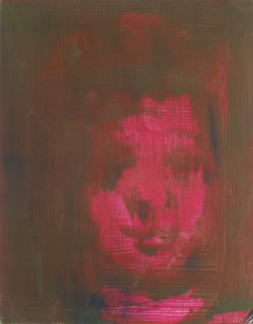 #22 Barbara Friedman  Magenta Head  oil on wood 14 x 11 in 2011