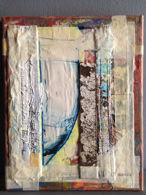#25 James Gross  The Ark  Oil paint, gesso, fabric, paper, and tape on canvas.  2019