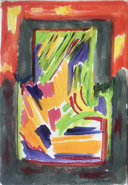 #32 Ce Roser  Fireworks on the Hudson  (from the Border Series) Watercolor on paper 10 x7 in, 2014