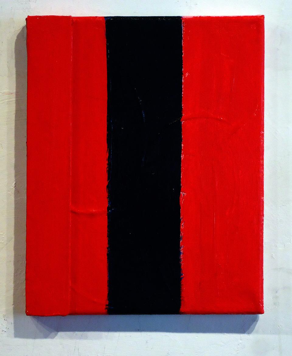 #36 Patrick Mangan  Black Stripe 2019  Wood and acrylic on canvas 10 x 8 in 2019