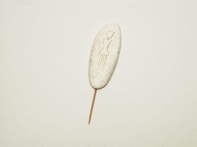 #40 Cyrilla Mozenter,  arctic marker  Cuttlebone, wooden craft stick, pencil, and cut-and-pasted Japanese handmade mending paper 7 x 2 x .75 in, 2013