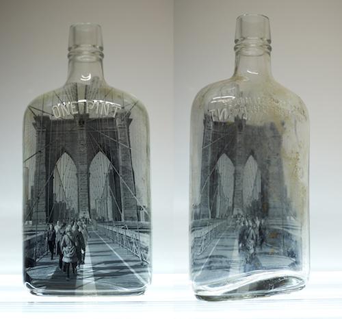 "#43 Barbara Norman Brooklyn Bridge Bottle Silver Gelatin Image hand printed on vintage bottle 8"" high x 4"" wide x 1.5"" deep, 2018"