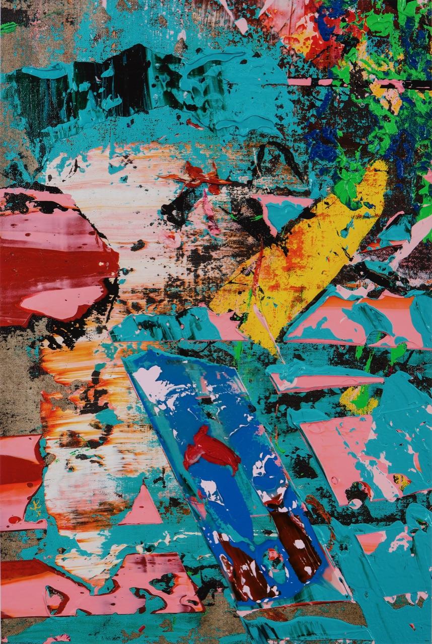 "#44 C. Michael Norton  Memory Blues   pigment print & acrylic on canvas  42"" x 28"" 2017"