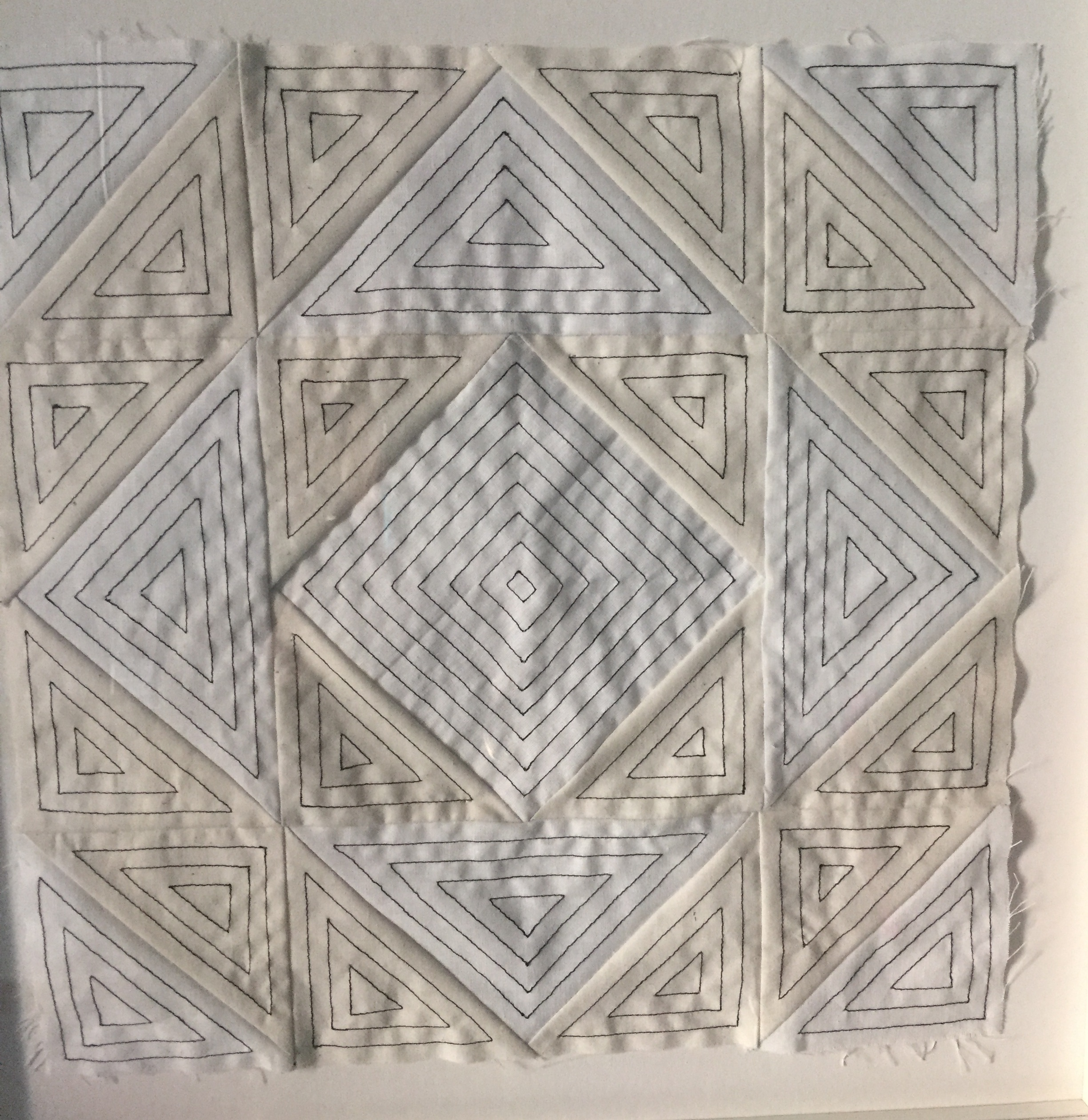 #77 Robert Hickman  4222 Study  Thread on fabric 15 x 15 in, framed 2016