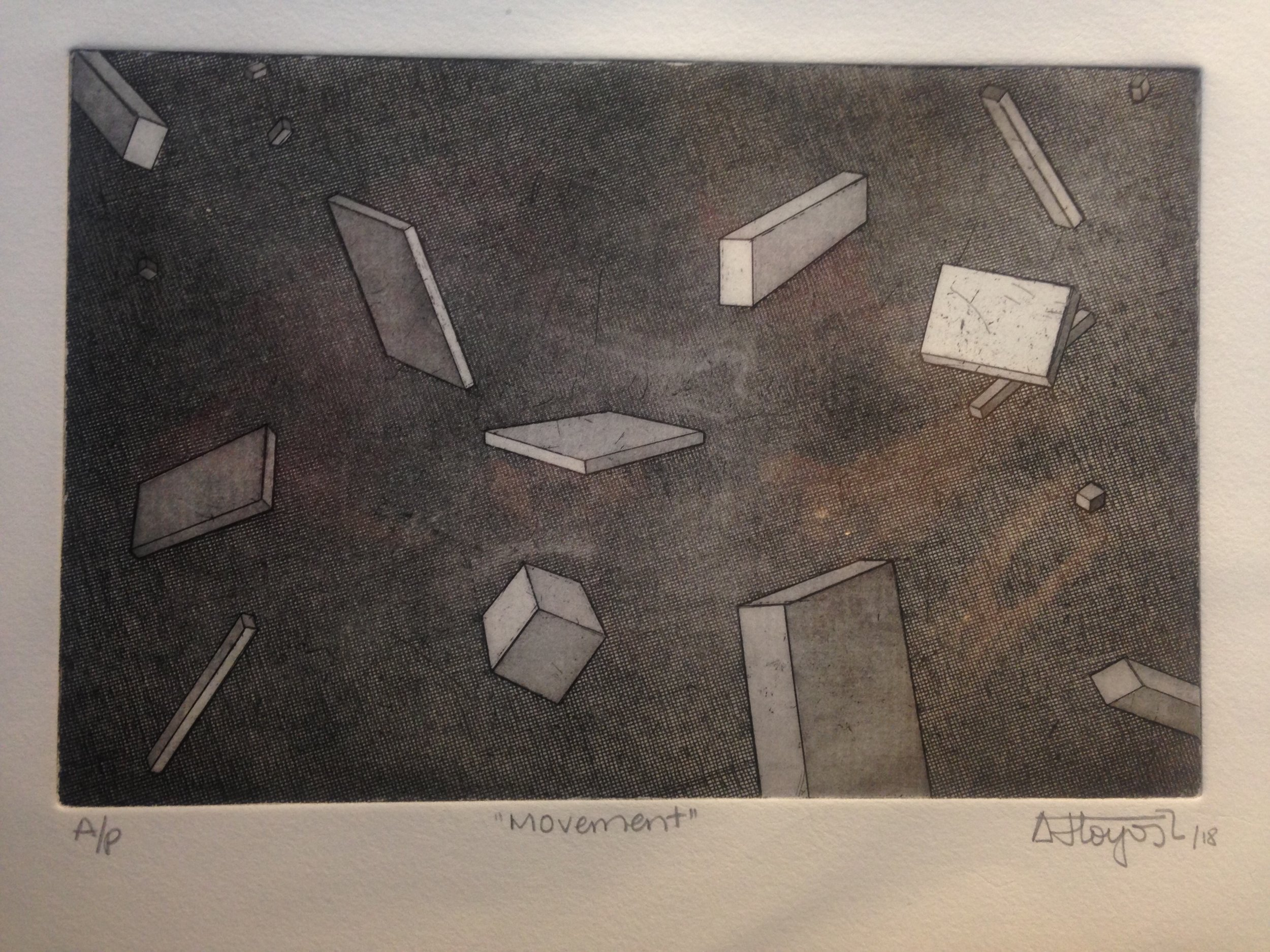 #81 Andres Hoyos  Movement  Print from etching, artist proof 11 x 15.5 in with matting, signed 2018