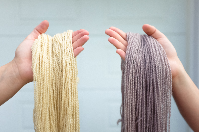 Left, undyed natural yarn. Right, our first skeins of Mussel Gray.