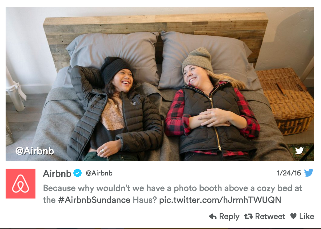We love how Air bnb literally INVITED guests into bed at The Air bnb Haus at Sundance this year.