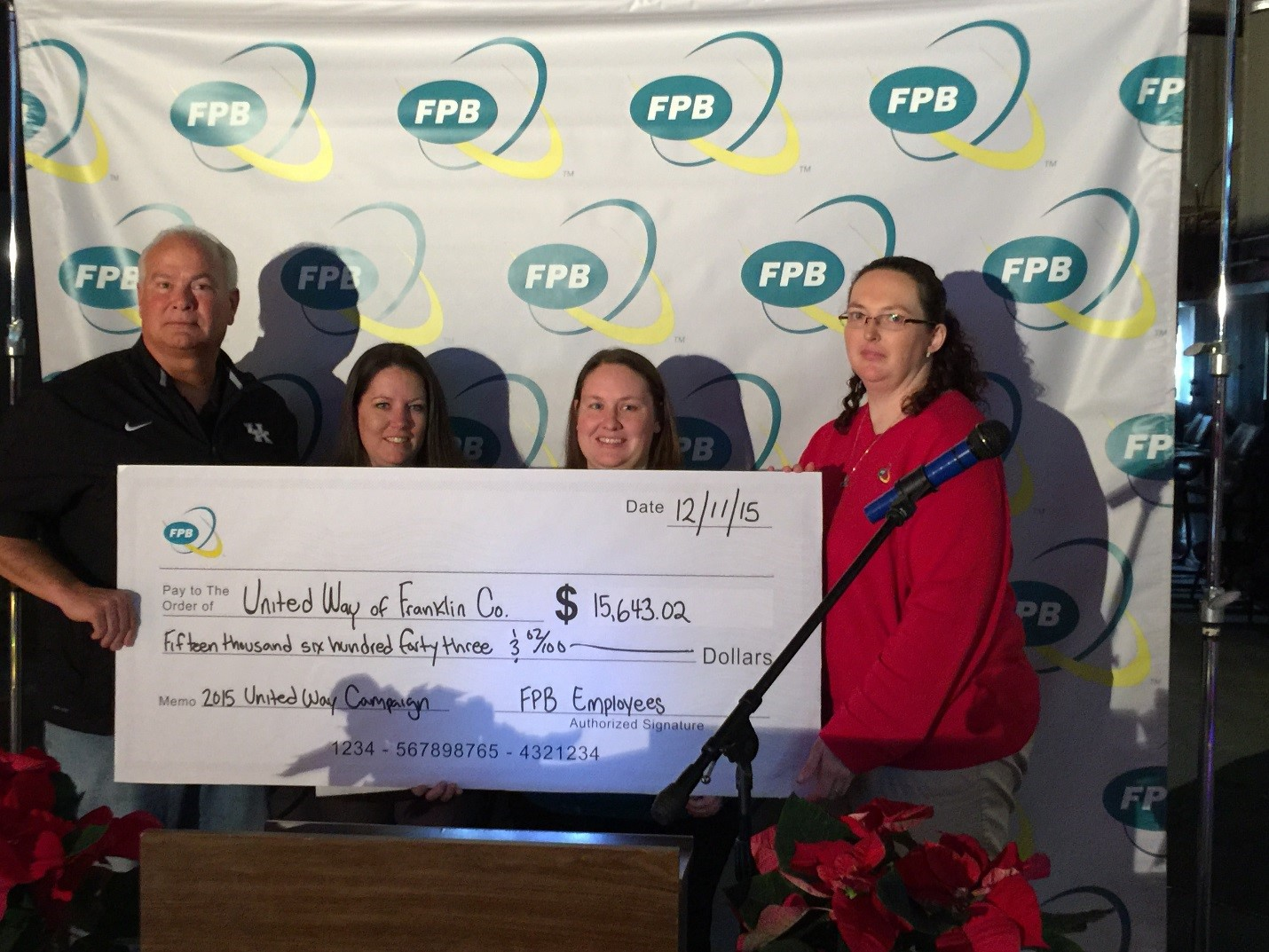 FPB presents a check to United Way of Franklin County Executive Director Randy Roberts.(Pictured left to right – Randy Roberts, United Way of Franklin County; and 2016 FPB Committee Members Michelle Early, Kim Bayes and Rebecca Wilson.)