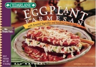 Eggplant filled with roasted vegetables and cheese in a sun-dried-tomato sauce.  280 Calories, 5g Saturated Fat, 13g Protein, 5g Fiber, 590mg Sodium