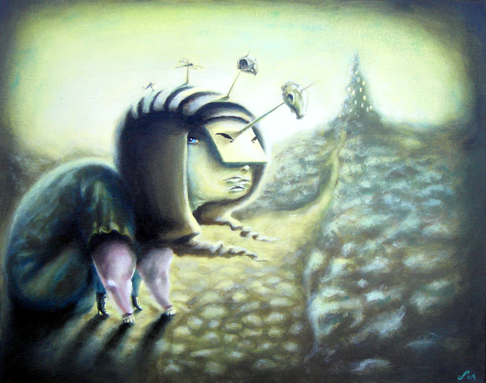 beware, acrylic on canvas, 16x20