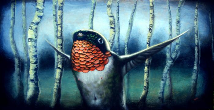 humming, acrylic on canvas, 21x40