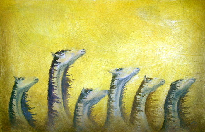 quiet horses, mixed media on paper, 11x18