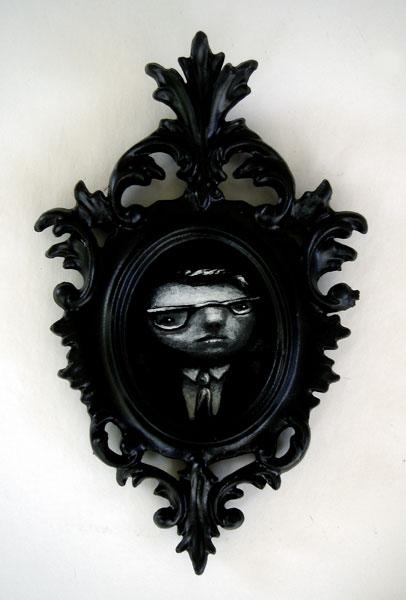the whole famn damily(tryptic III), acrylic on glass, 1.5x2