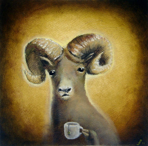bighorn sheep with black tea, mixed media on paper, 10x10