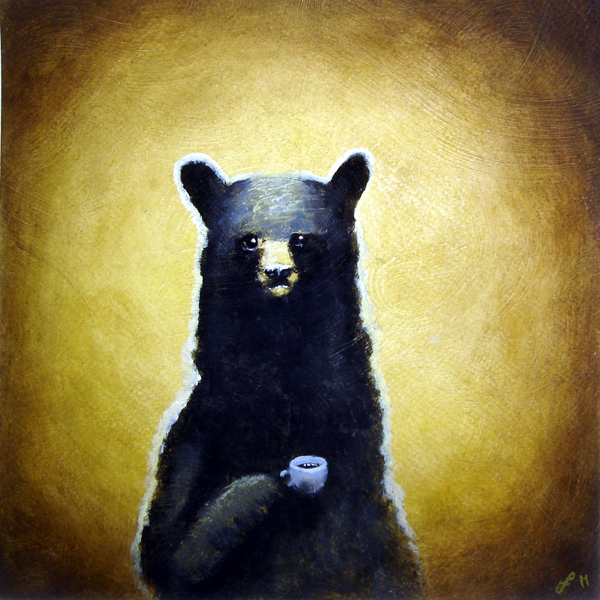 black bear with black coffee, mixed media on paper, 10x10