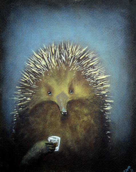 echidna with espresso, mixed media on paper, 8x10
