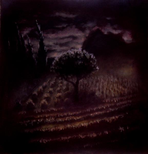 garden at night, mixed media on paper, 17x18