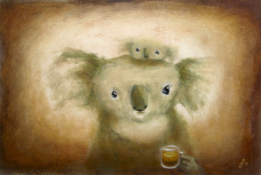 koala with kratom tea, mixed media on paper, 8x12
