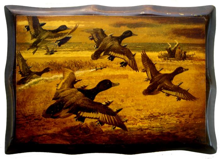 duck season II, acrylic on found print, 7x10