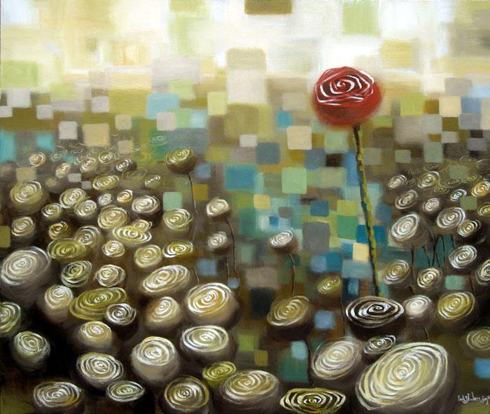 flowers, acrylic on canvas, 32x38