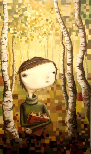 Leaves, acrylic on canvas, 36x60