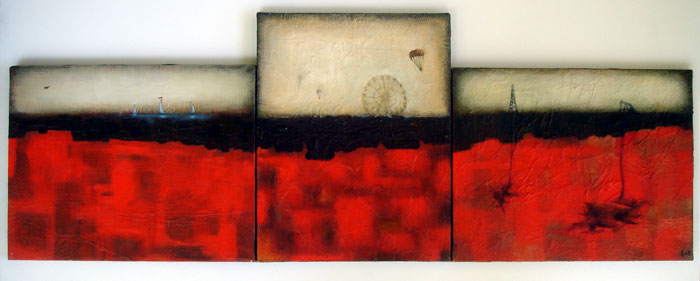 scape(tryptic), mixed media on canvas, 39x14
