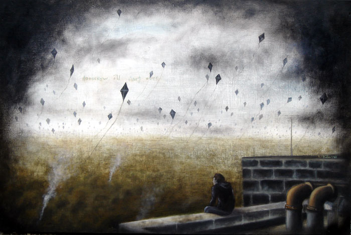 the black kites, oil on wood panel,  26x17