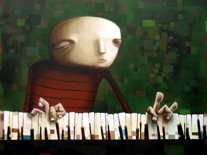 The Pianist, acrylic on canvas, 36x48