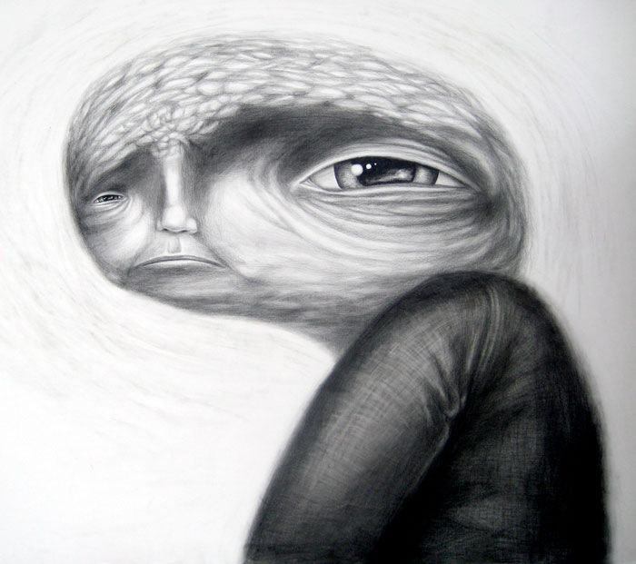 worry, graphite on paper, 34x30