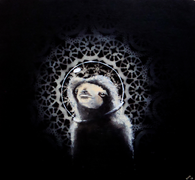 sloth in space, acrylic and spraypaint on wood panel, 14x15