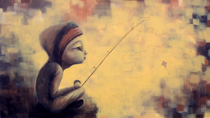flight fishing, acrylic on canvas, 43x77