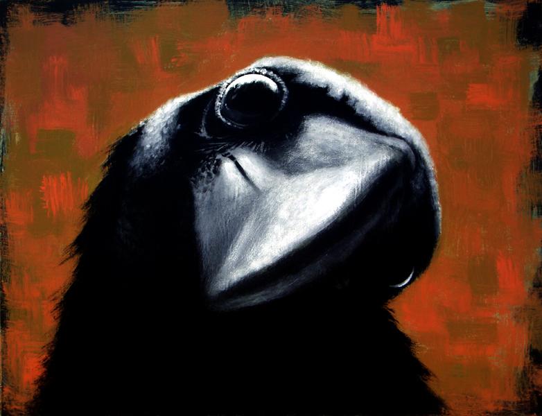 raven, acrylic on wood, 24x30