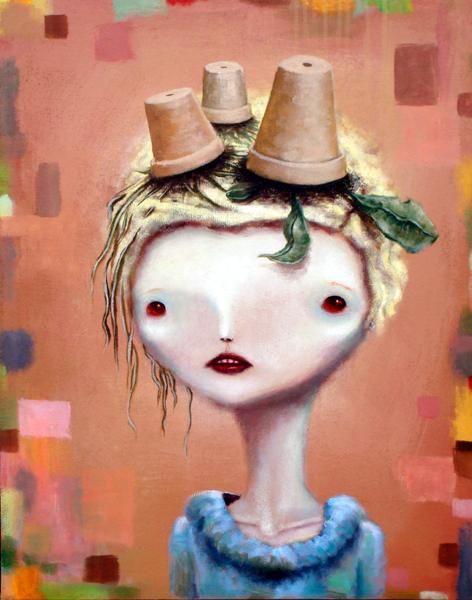lady spring, acrylic on canvas, 24x30