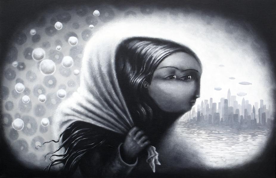 lady winter, acrylic on canvas, 24x36