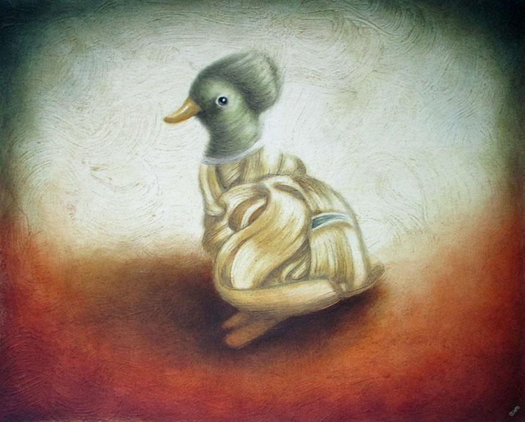 gentlemen prefer ducks, mixed media on paper, 16x20
