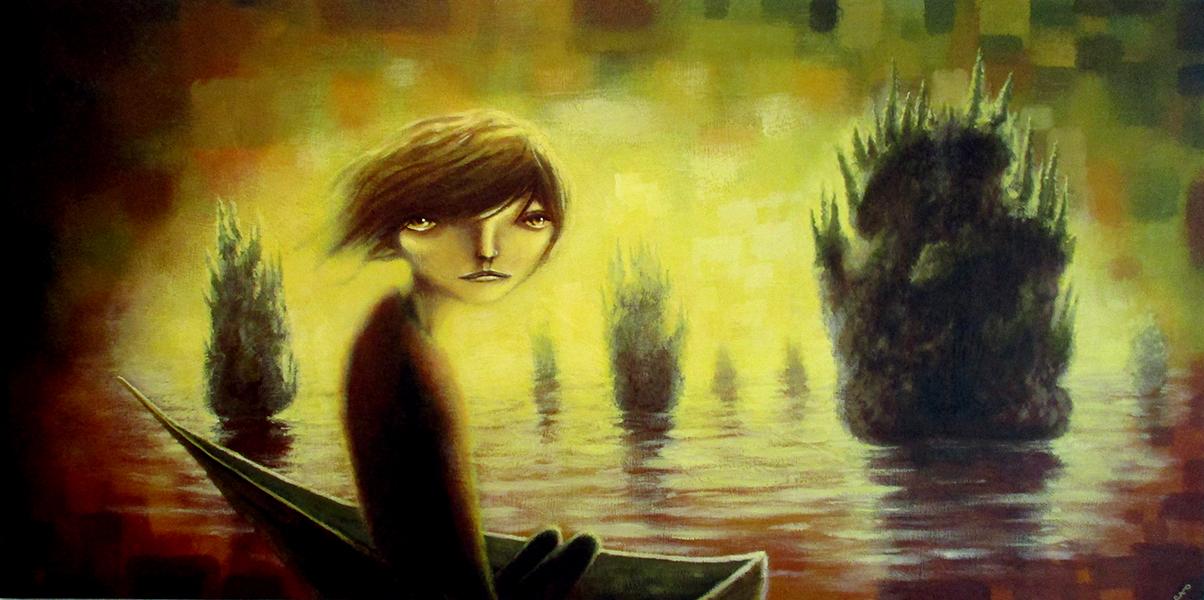Isle of Pine, acrylic on wood panel, 24x40