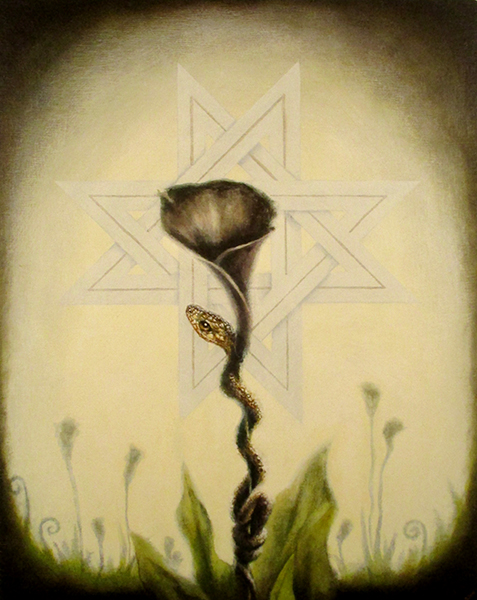 black calla lily, acrylic on wood panel, 20x16