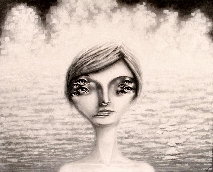 myriad VI, mixed media on paper, 20x16