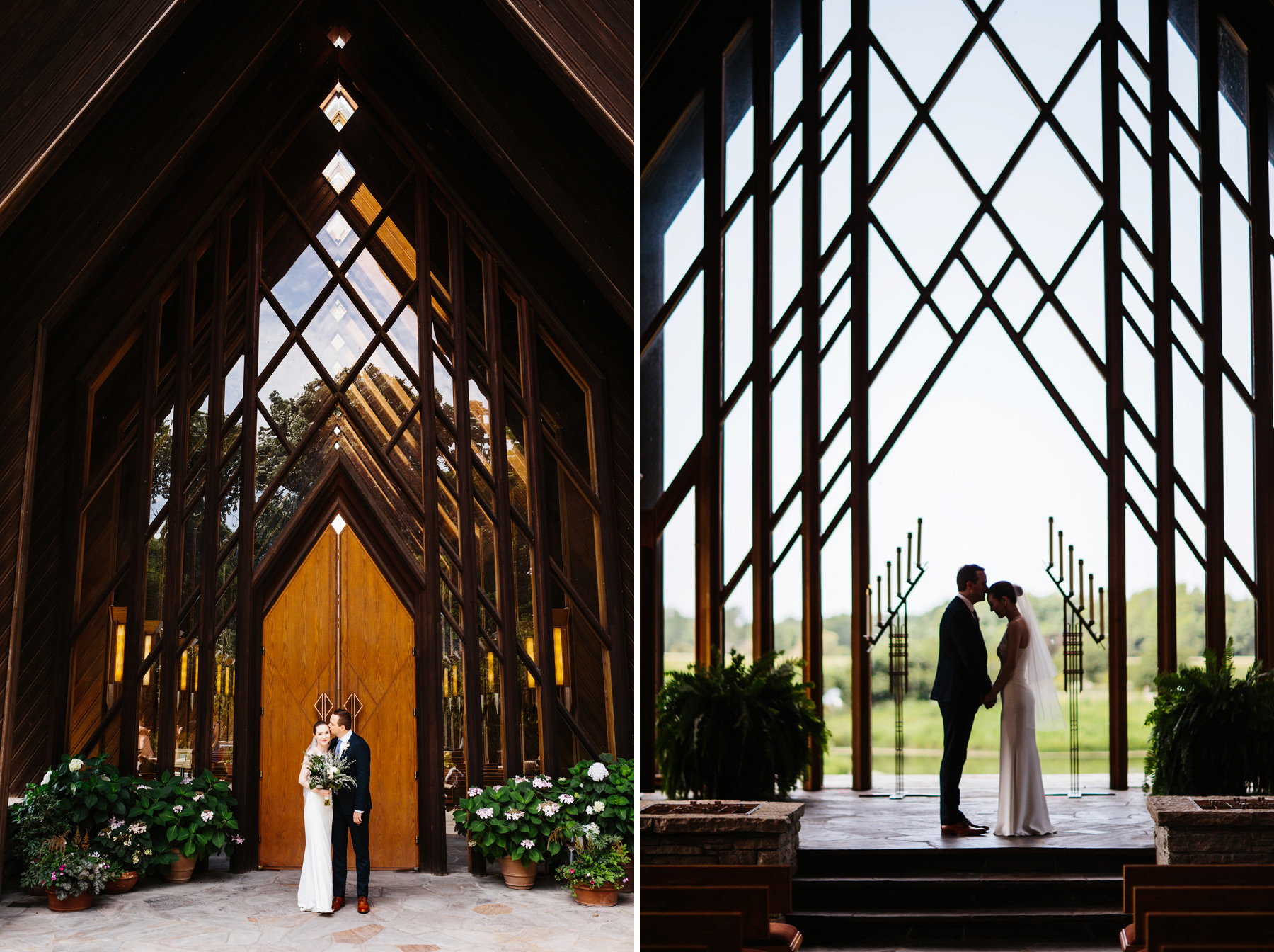 Jordan and Josh's Powell Garden's Chapel Elopement followed by an intimate reception at The Westside Local in Kansas city Missouri. Kindling Wedding Photography and Videography. Kansas City based wedding photographers available for travel and destination weddings.