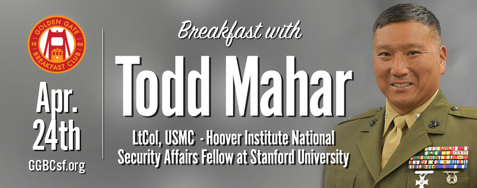 Lieutenant Colonel Todd Mahar  is a career Marine Corps Infantry Officer with operational experience in Europe, the Middle East, and Africa. He has commanded at every rank from lieutenant to lieutenant colonel. His additional assignments include instructor duty, recruiting duty, and Military Aide to Vice President Joseph R. Biden Jr. He is currently a Hoover Institution National Security Affairs Fellow at Stanford University and is researching the US/Turkey relationship. His presentation will be on leadership before, during, and after crisis or tragedy.
