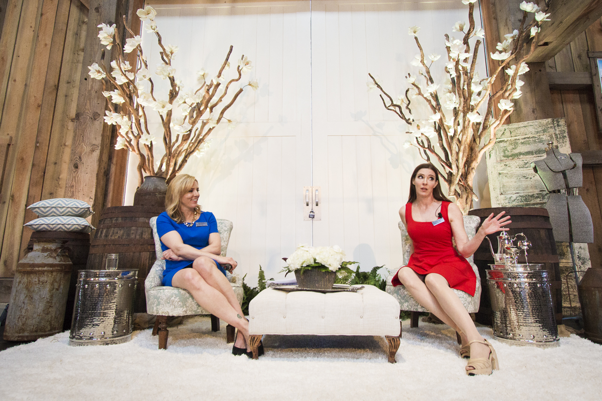 Keri Adams and first guest speaker  Tracey Bell .  Decor by  Greenscape Design & Decor .  Furniture custom upholstered for Project Bloom by  Turtlenina .