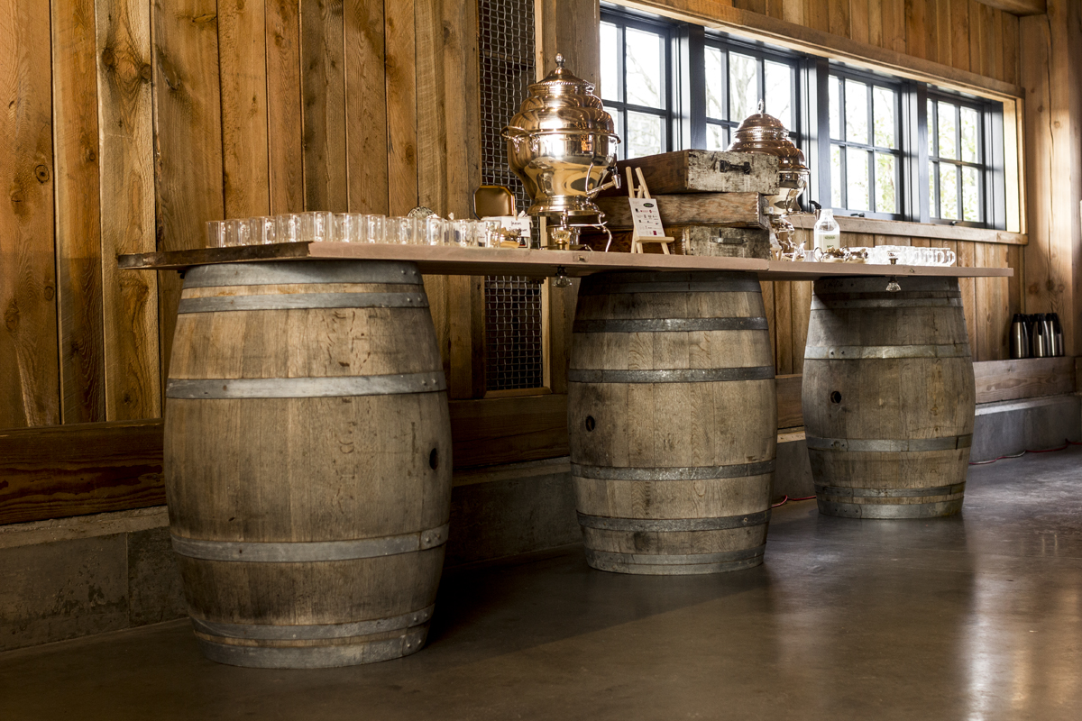 Vintage Barrels and Door Tabletops from Greystone Rentals