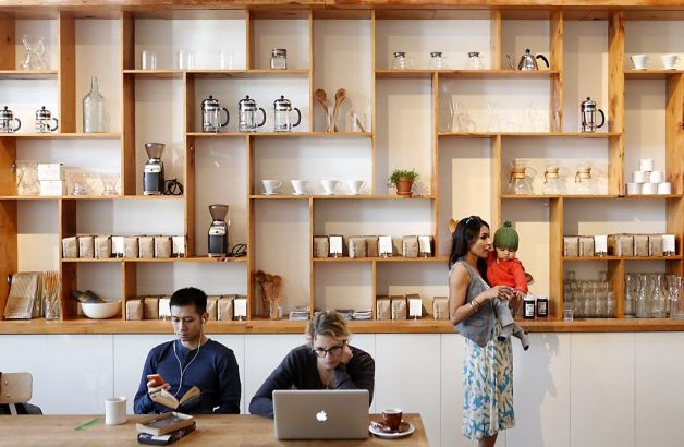 home brew equipment, Warby Parker glasses, fashion-forward clientele at The Mill, San Francisco