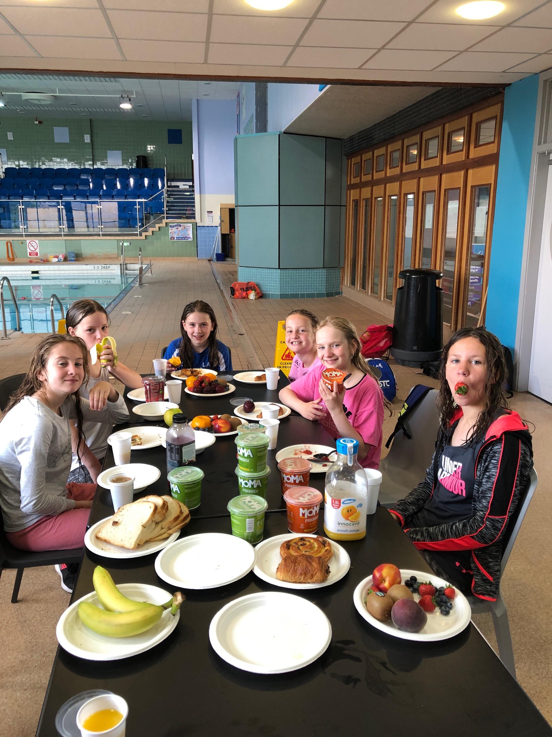 Swimmers enjoying the breakfast club