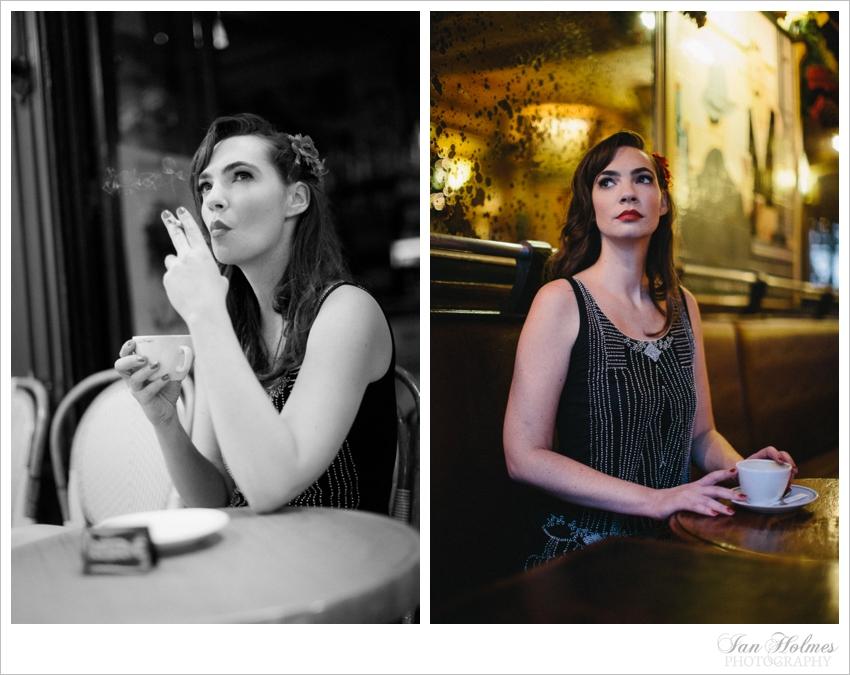 girl in Parisian cafe