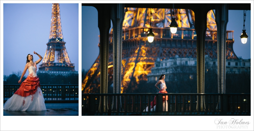 beautiful girl in front of the Eiffel Tower