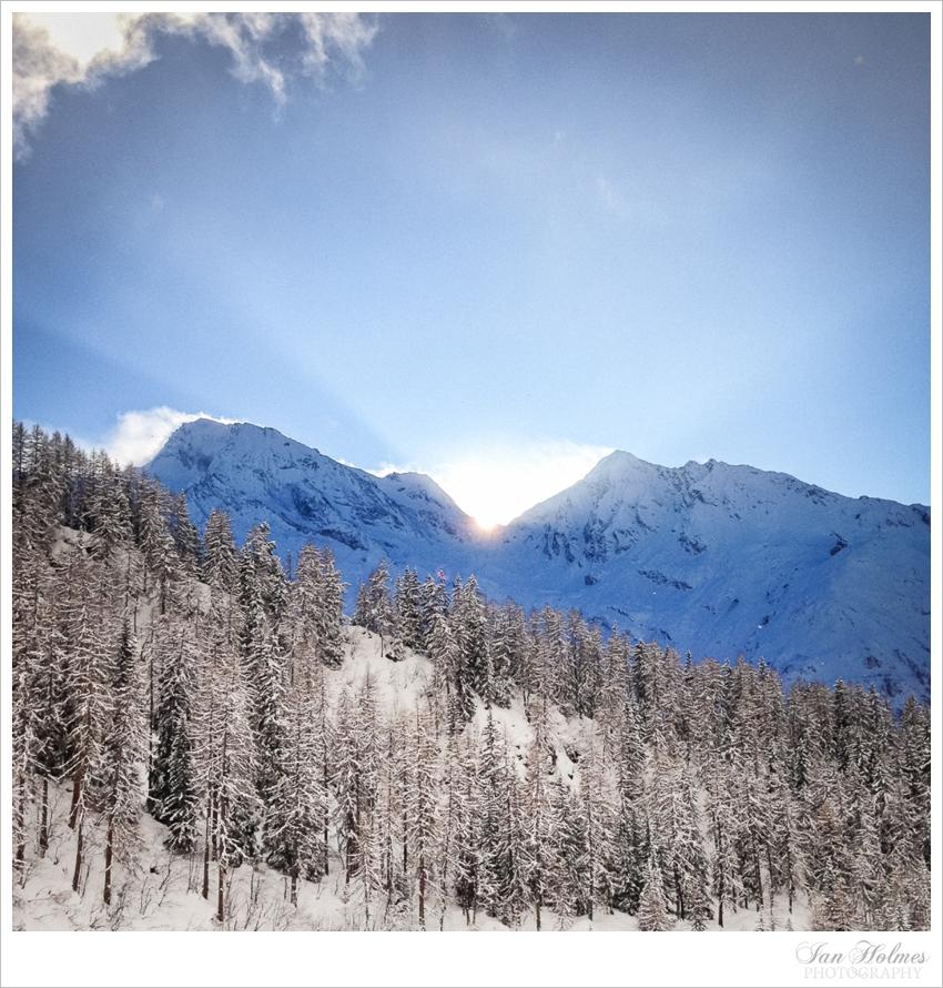 setting sun in the alps
