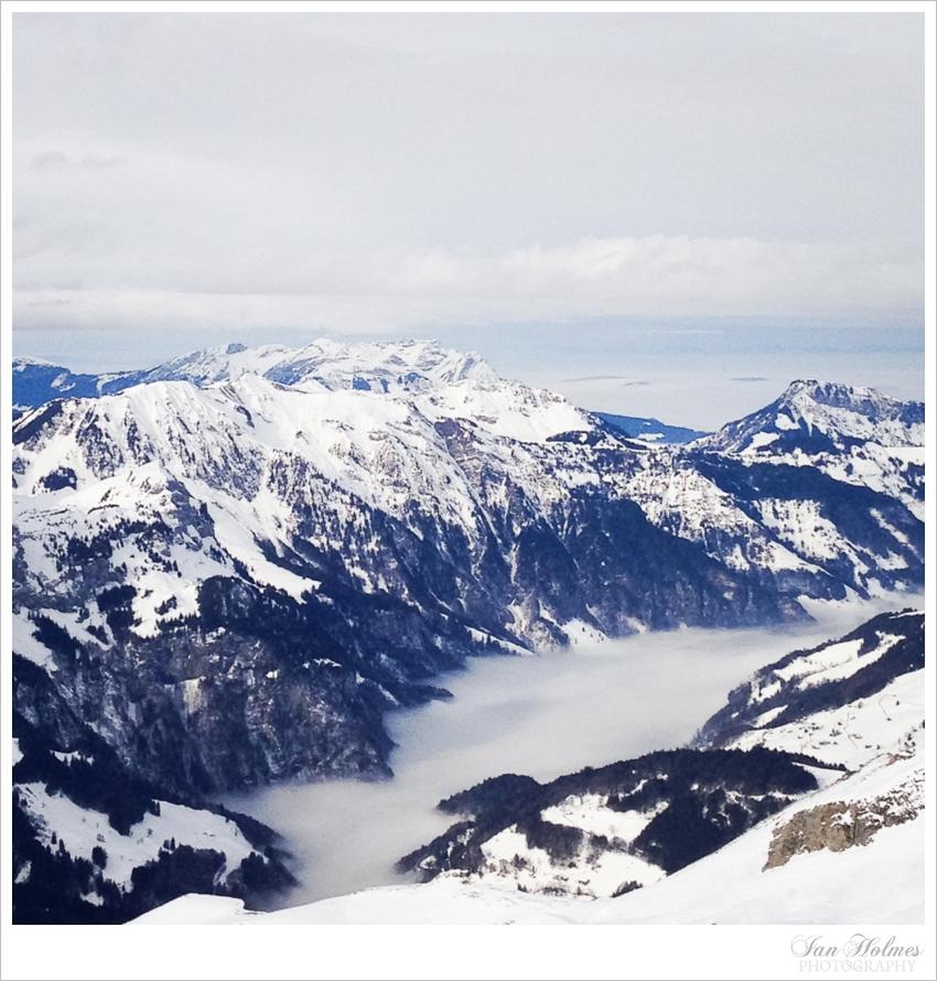 low lying cloud in the swiss alps
