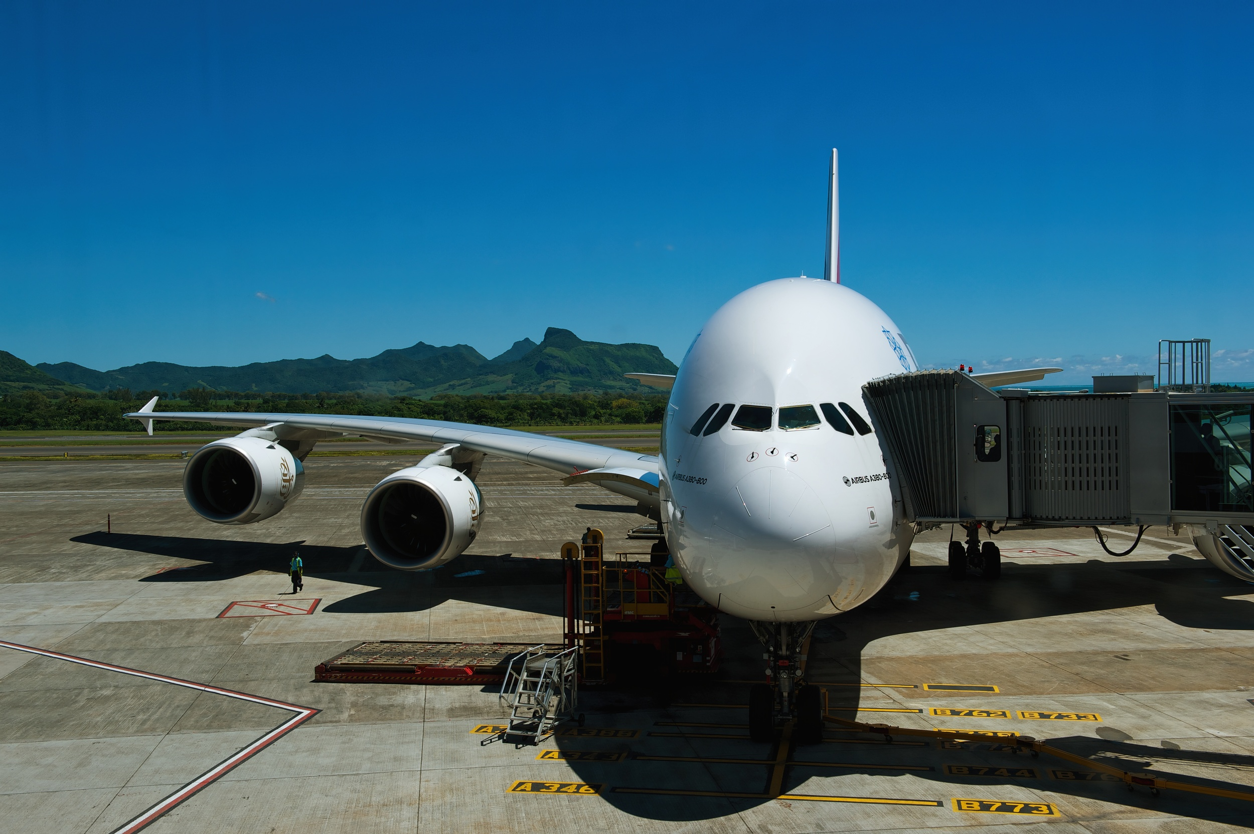 Airbus A380 at the gate in Mauritius, Plaisance Airport.